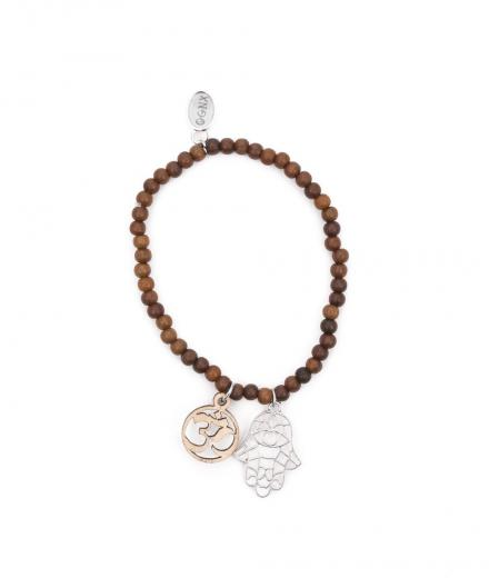 OGNX Holz Armband Hamsa und OM Silber