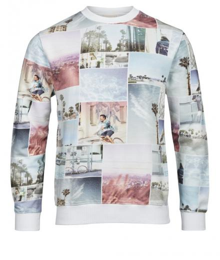 Knowledge Cotton Apparel Sweat shirt with all over photo print Bright White | L