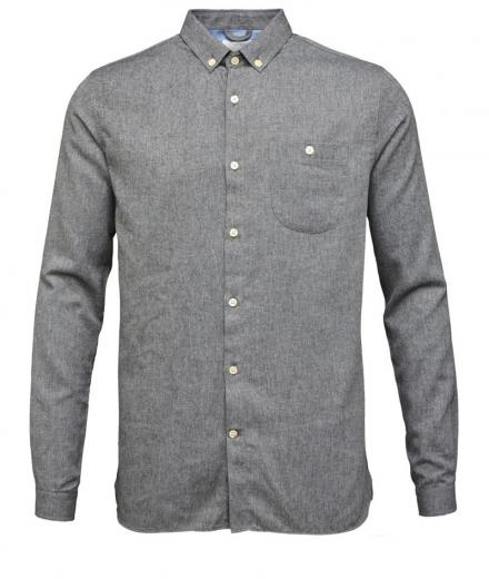 Knowledge Cotton Apparel Solid Col. Flanel Shirt - GOTS Dark Grey Melange | L