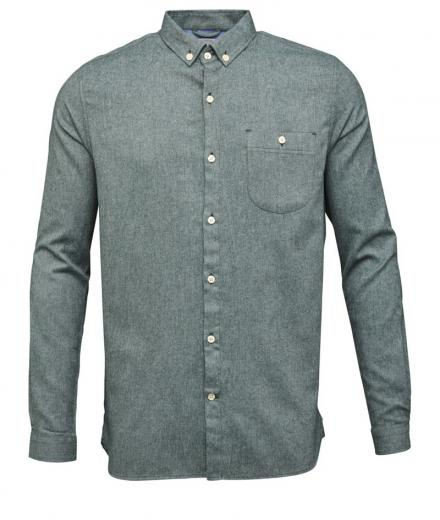 Knowledge Cotton Apparel Solid Col. Flanel Shirt - GOTS Green Gables | M