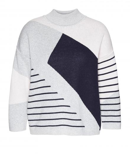 ARMEDANGELS Agnes Striped Chaos light grey melange-powder-navy | S