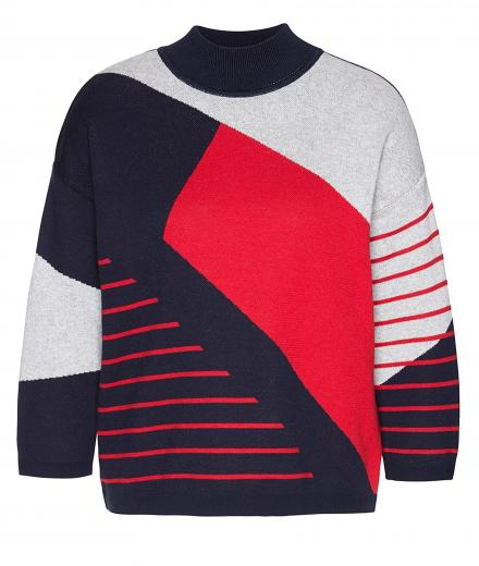 ARMEDANGELS Agnes Striped Chaos navy-ribbon red-light grey melange | XS