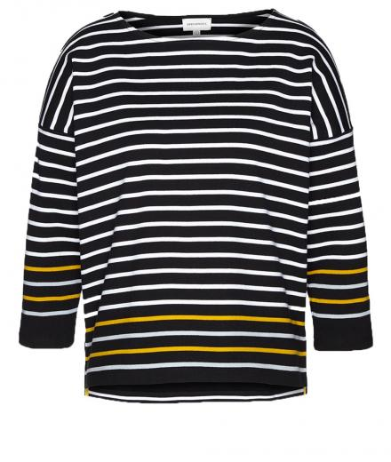 ARMEDANGELS Filine Contrast Stripes S | White-black-mustard yellow-ice blue