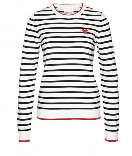 ARMEDANGELS Onana Heart on Stripes black-off white-scarlet red | S