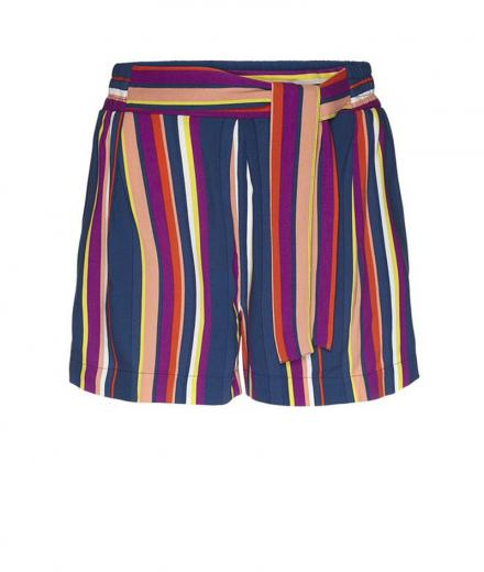 ARMEDANGELS Aallegra Multicolor Stripes Shorts dark navy-carrot | L