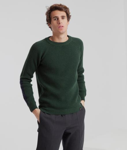 Thinking MU Patched Elbows Sweater Scarab Green