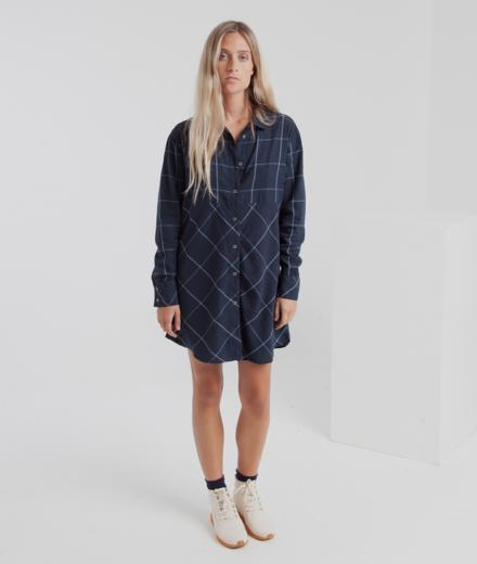 Thinking MU Blue Checks Amanda Shirty Dress S