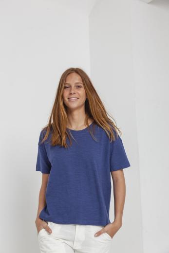 Thinking MU Hemp Ivy T-Shirt blue marino | S