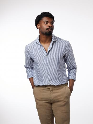 CARPASUS Shirt Linen Stripes Navy