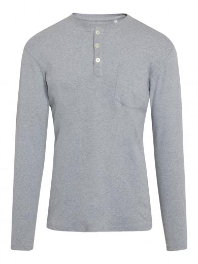 Knowledge Cotton Apparel Cedar chest pocket henley Grey Melange