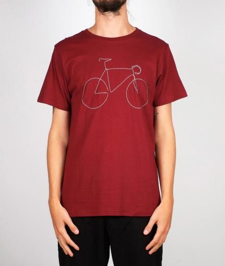 DEDICATED T-shirt Stockholm Bicycle burgundy | L
