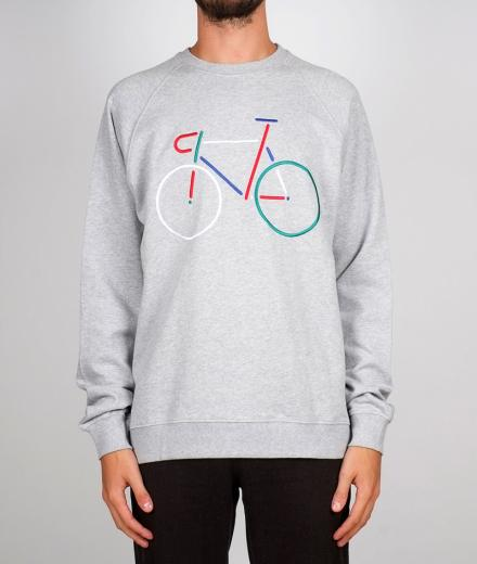 DEDICATED Sweatshirt Malmoe Color Bike Embroidery grey