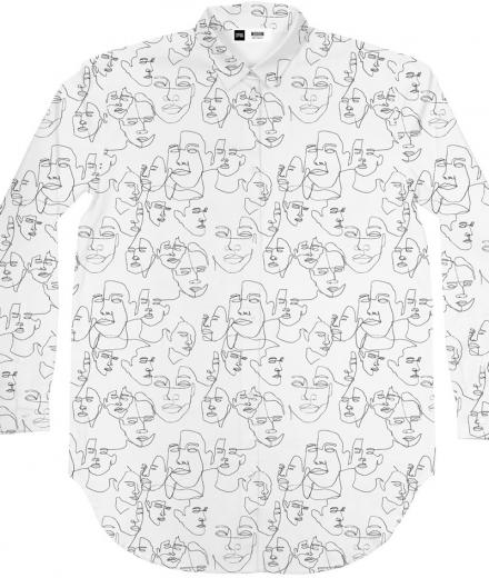 DEDICATED Shirt Fredericia Faces white | S