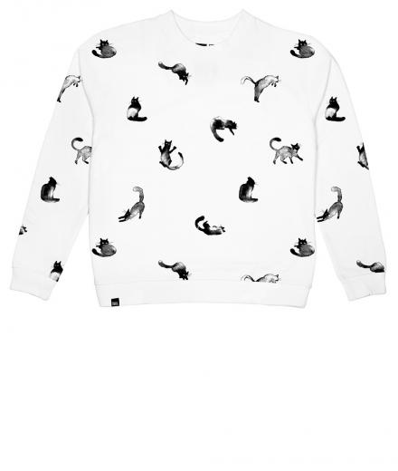 DEDICATED Sweatshirt Ystad Cats white | S