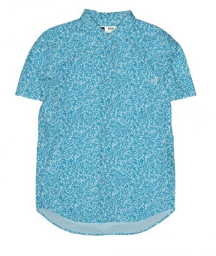 DEDICATED Shirt Short Sleeve Sandefjord Poplin Small Leaves blue | S