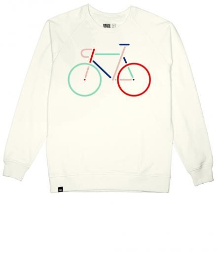 DEDICATED Sweatshirt Malmoe Color Bike Embroidery Off White | L