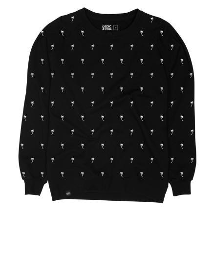 DEDICATED Sweatshirt Malmoe Ditsy Palms black | L