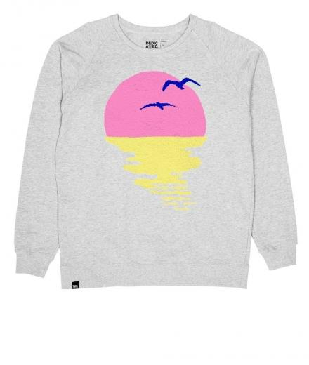 DEDICATED Sweatshirt Malmoe Sunset Chenille MEN Grey Melange | M
