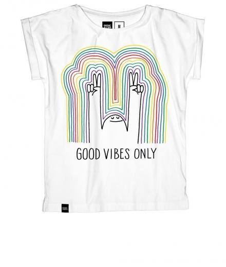 DEDICATED T-shirt Visby Rainbow Vibes white | XS