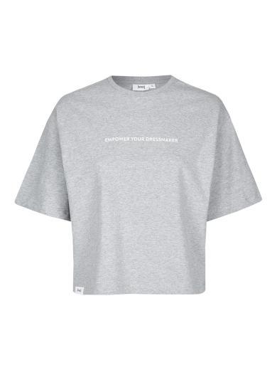 """eyd Cropped T-Shirt """"Empower"""" grau meliert"""