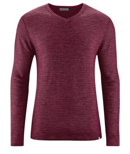 HempAge V-neck woolpullover rioja