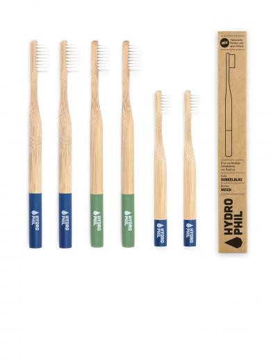 HYDROPHIL Nachhaltige Zahnbürste Family Pack blau/rot/kids