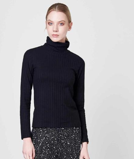 JAN 'N JUNE Turtle Neck Sweater Mio Rib Knit Black M