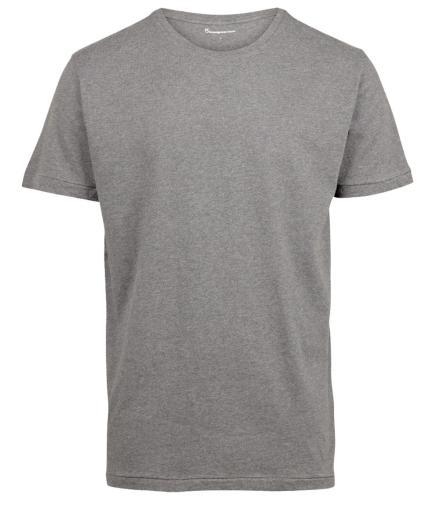 Knowledge Cotton Apparel Basic Regular Fit O-Neck Tee grey melange | S