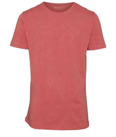 Knowledge Cotton Apparel Basic Regular Fit O-Neck Tee Coral Melange | L