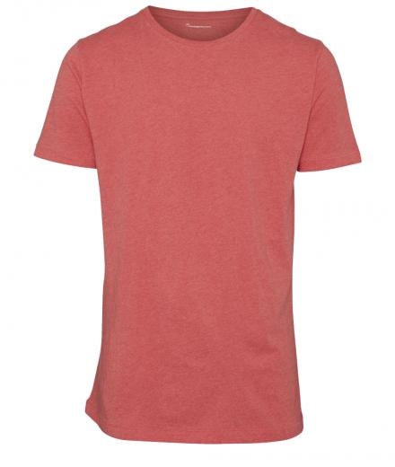 Knowledge Cotton Apparel Basic Regular Fit O-Neck Tee Coral Melange | L