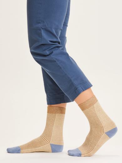 Knowledge Cotton Apparel Diane colorblock rib socks