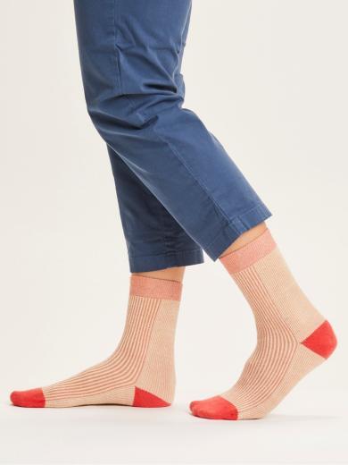 Knowledge Cotton Apparel Diane colorblock rib socks terra cotta