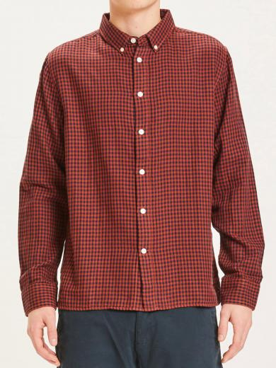 Knowledge Cotton Apparel Larch casual fit double layer checked shirt arabian spice