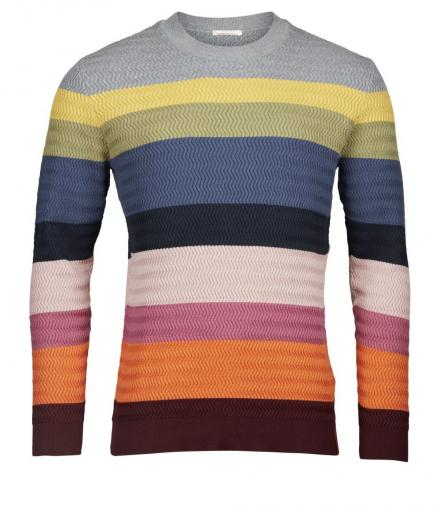Knowledge Cotton Apparel Multi color knit zig-zag GOTS