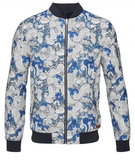 Knowledge Cotton Apparel All Over Printed Catalina Jacket Total Eclipse | L