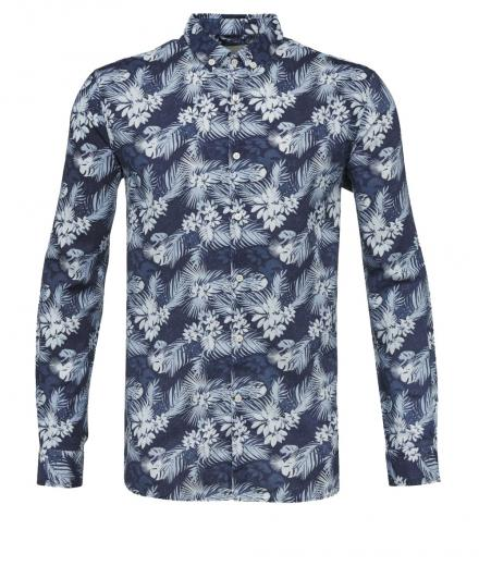 Knowledge Cotton Apparel All Over Printed Colinen Shirt