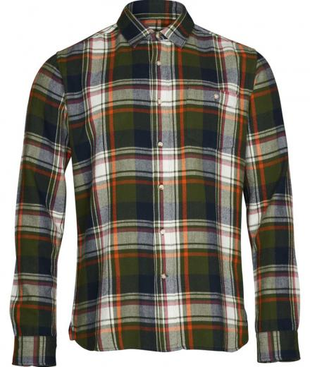 Knowledge Cotton Apparel Checked flanel shirt black forest | S