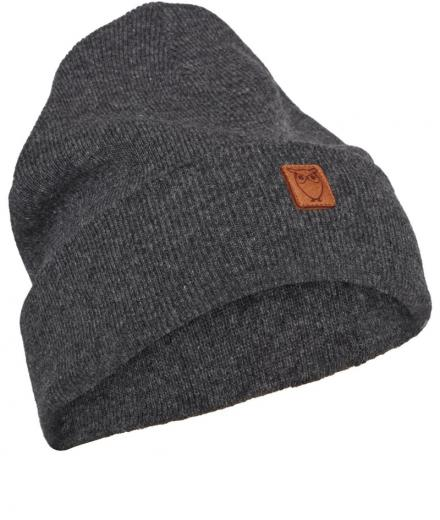 Knowledge Cotton Apparel Beanie organic wool Dark Grey Melange | onesize