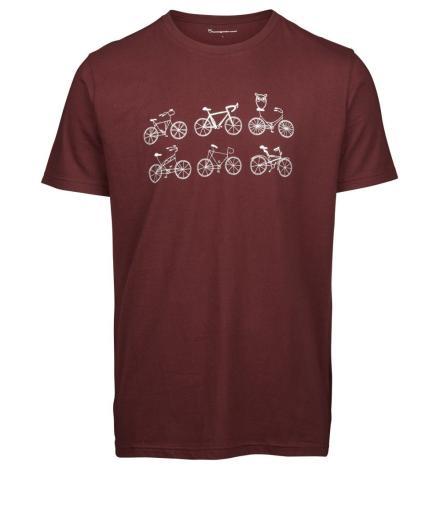 Knowledge Cotton Apparel T-shirt with printed bikes on a line – GOTS decadent chokolade | M