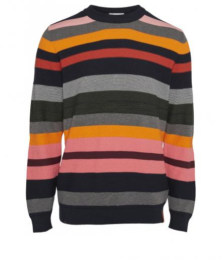 Knowledge Cotton Apparel Striped o-neck knit total eclipse