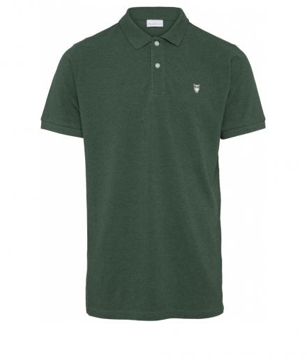 Knowledge Cotton Apparel ROWAN basic polo Black Forrest melange