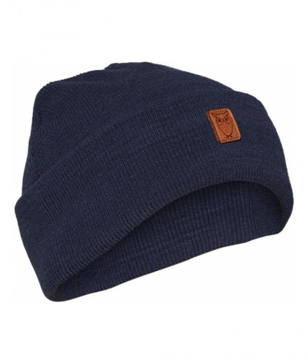 Knowledge Cotton Apparel Beanie organic wool Dark Denim