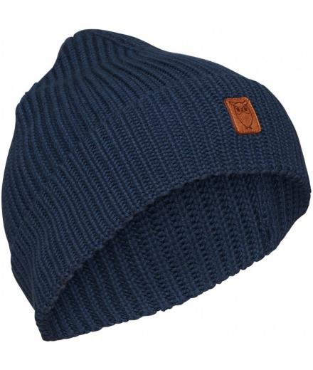 Knowledge Cotton Apparel LEAF ribbing hat dark denim