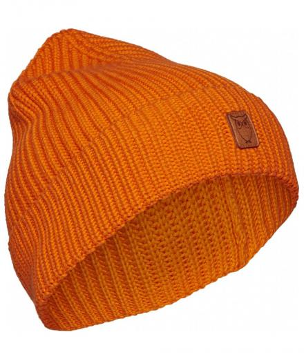 Knowledge Cotton Apparel LEAF ribbing hat persimmon orange