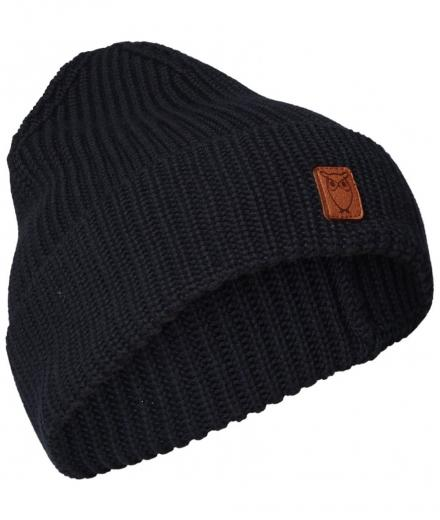 Knowledge Cotton Apparel LEAF ribbing hat total eclipse | onesize