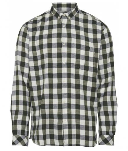 Knowledge Cotton Apparel Long Sleeve Checked Slub Shirt - GOTS/Vegan L