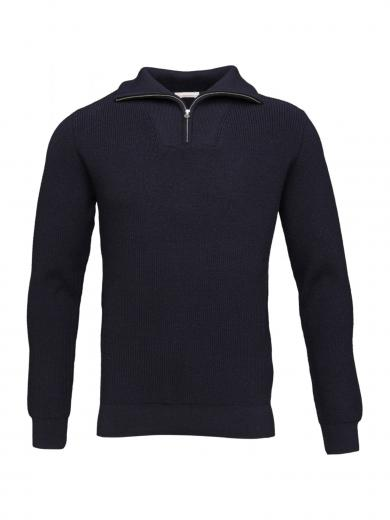 Valley Neck Zip Knit Total Eclipse