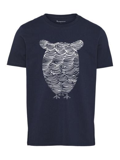 Knowledge Cotton Apparel Alder tee owl wave print Total Eclipse