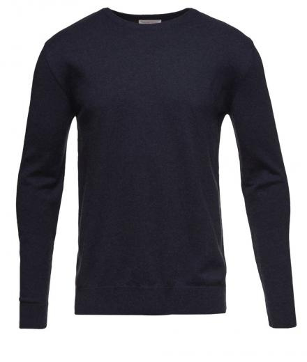 Knowledge Cotton Apparel Basic O-Neck Cotton/Cashmere - GOTS Total Eclipse | M