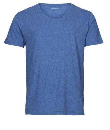 Knowledge Cotton Apparel Basic Regular Fit O-Neck Tee Blue Melange   L